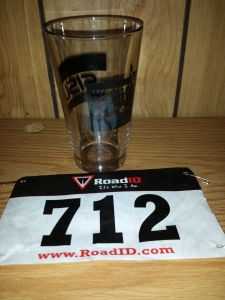 Pint Glass received at finish line and Bib.