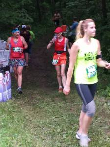 Mile 9 something aid station. On the way back. Hubby was there cheering!