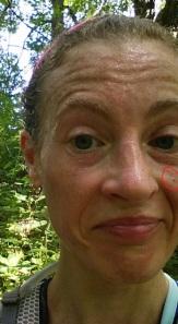 I was able to find a close-up of my mug I took while running. Nice sweaty photo! The circled spot is the 'weird spot'